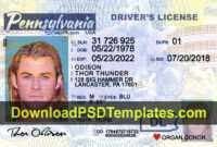 Pennsylvania Driver License Template Psd [New Pa Dl] with regard to Blank Drivers License Template