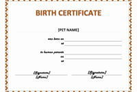 Pet Birth Certificate Maker | Pet Birth Certificate For Word with Birth Certificate Templates For Word