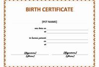 Pet Birth Certificate Maker | Pet Birth Certificate For Word within Birth Certificate Fake Template