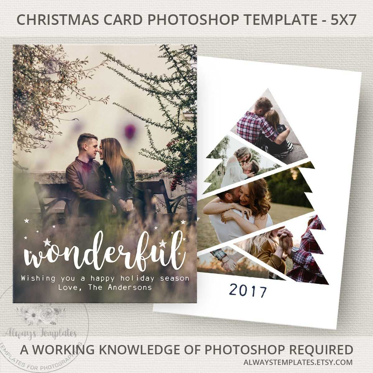 Photo Christmas Card Template, Christmas Tree Card Template For Holiday Card Templates For Photographers