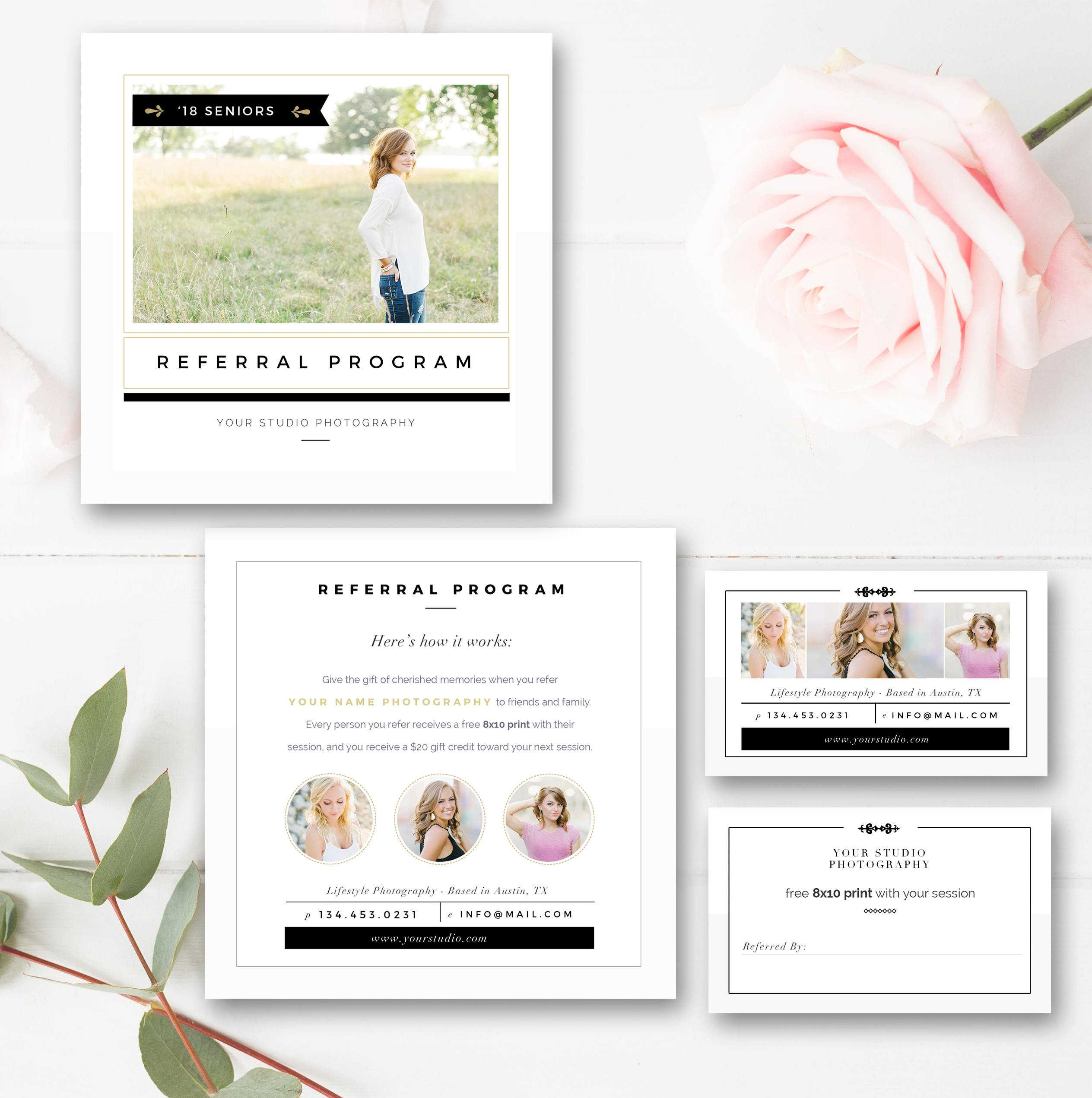 Photography Referral Card, Referral Program, Tell A Friend, Instant  Download! with Photography Referral Card Templates
