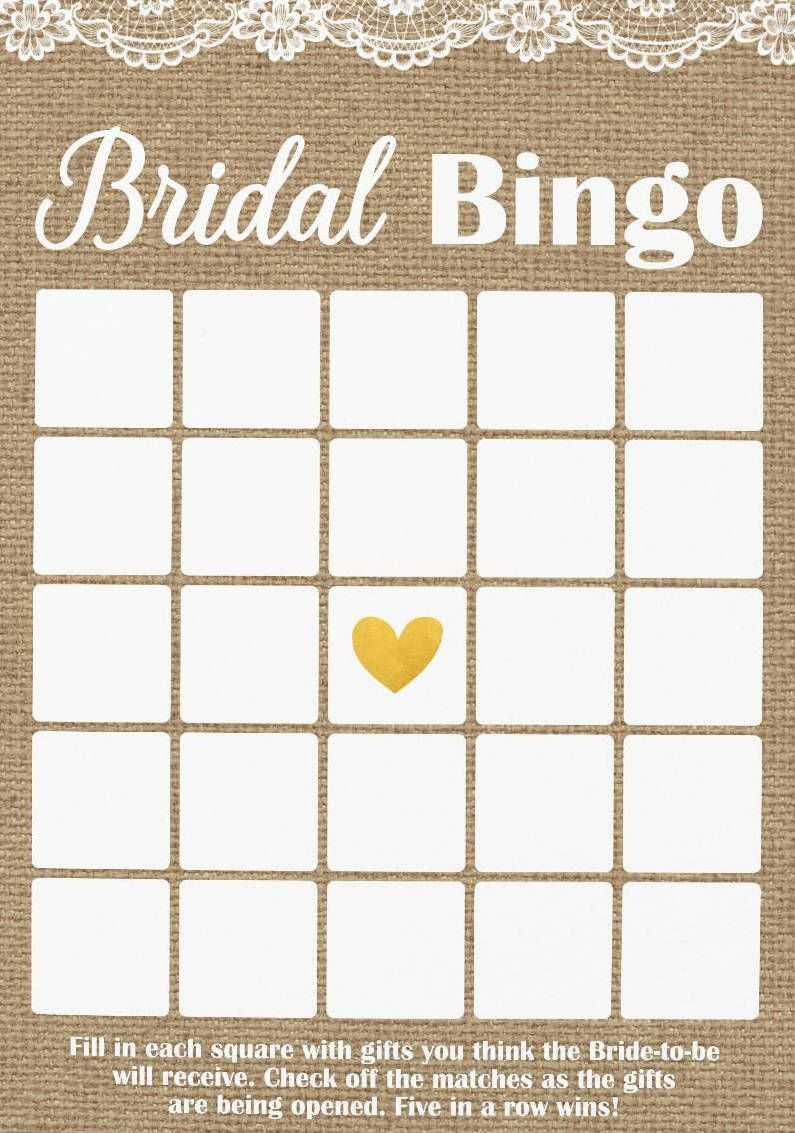 Pin On Bridal Shower With Blank Bridal Shower Bingo Template