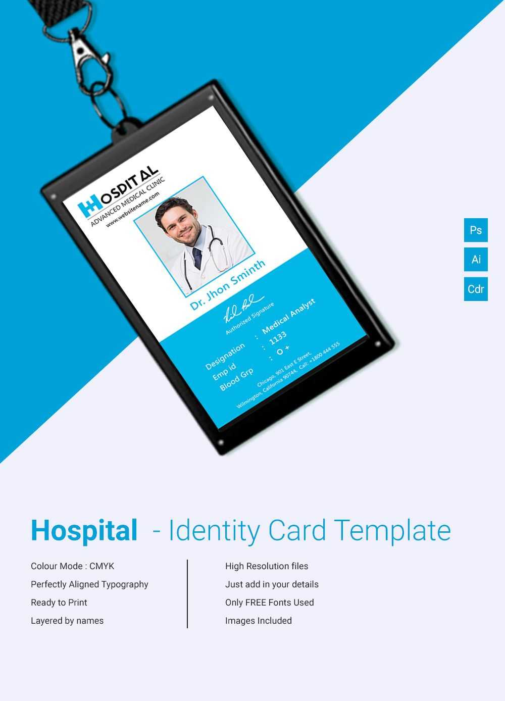 Pin On 工作证 For Template For Id Card Free Download