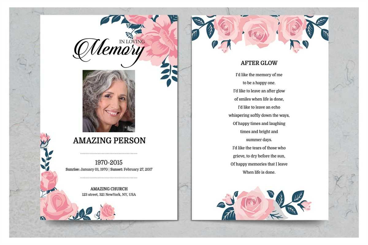 Pink Flower Funeral Prayer Card Template Inside Prayer Card Template For Word