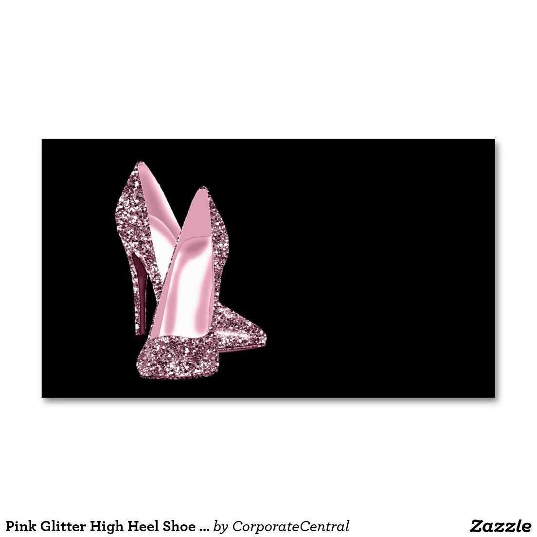Pink Glitter High Heel Shoe Business Card Template   Zazzle Regarding High Heel Template For Cards