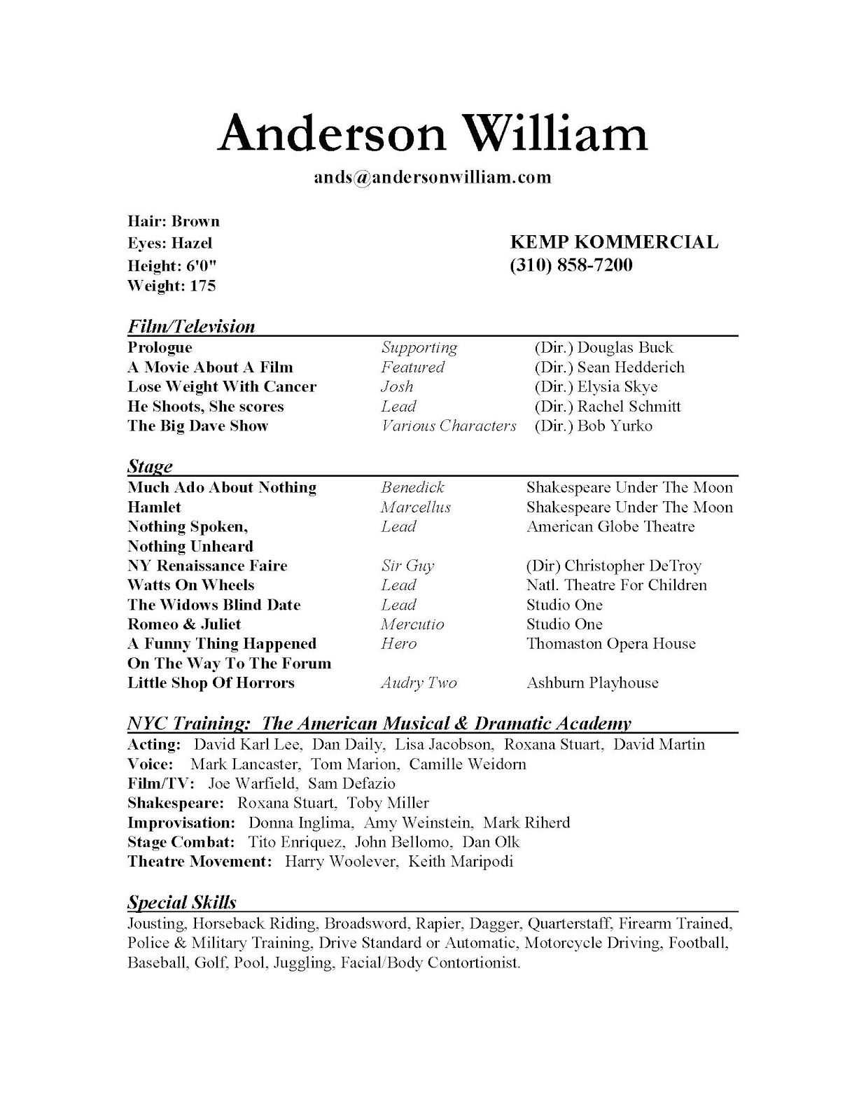 Pinresumejob On Resume Job | Acting Resume, Acting pertaining to Theatrical Resume Template Word