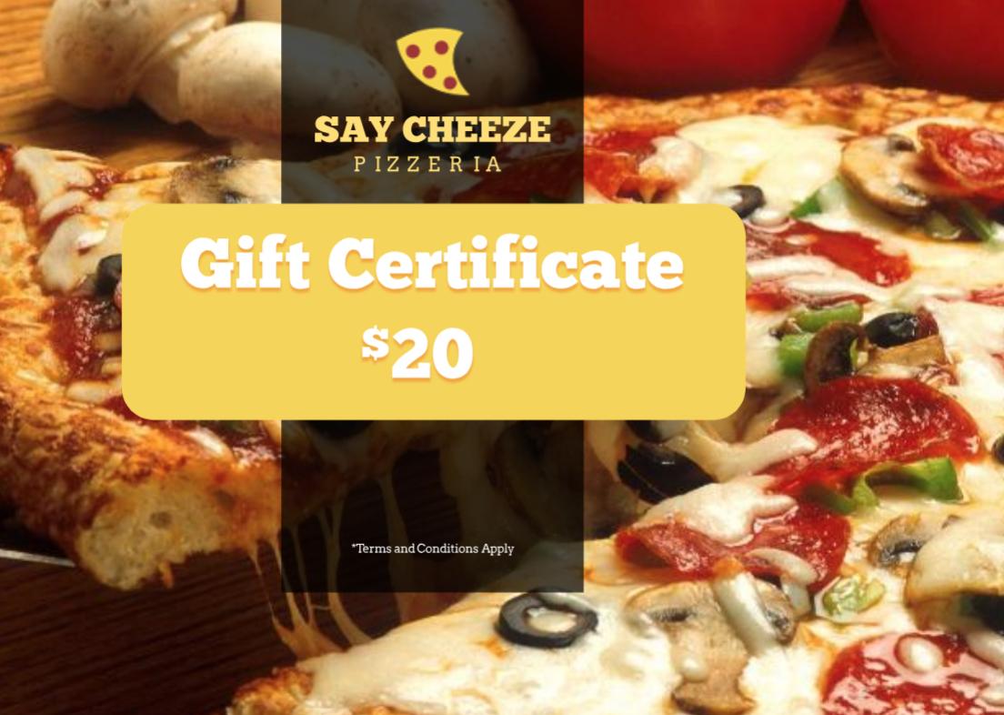 Pizzeria Restaurant Gift Certificate Template | Free With Pizza Gift Certificate Template