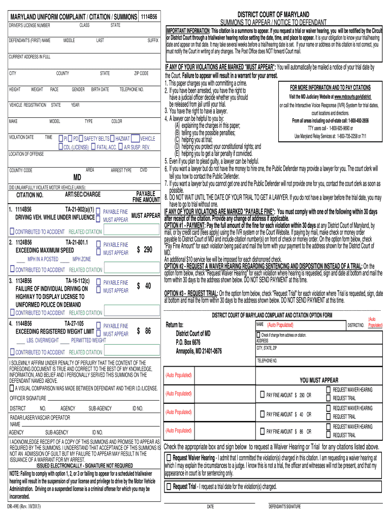 Police Citation Template – Fill Online, Printable, Fillable Intended For Blank Speeding Ticket Template