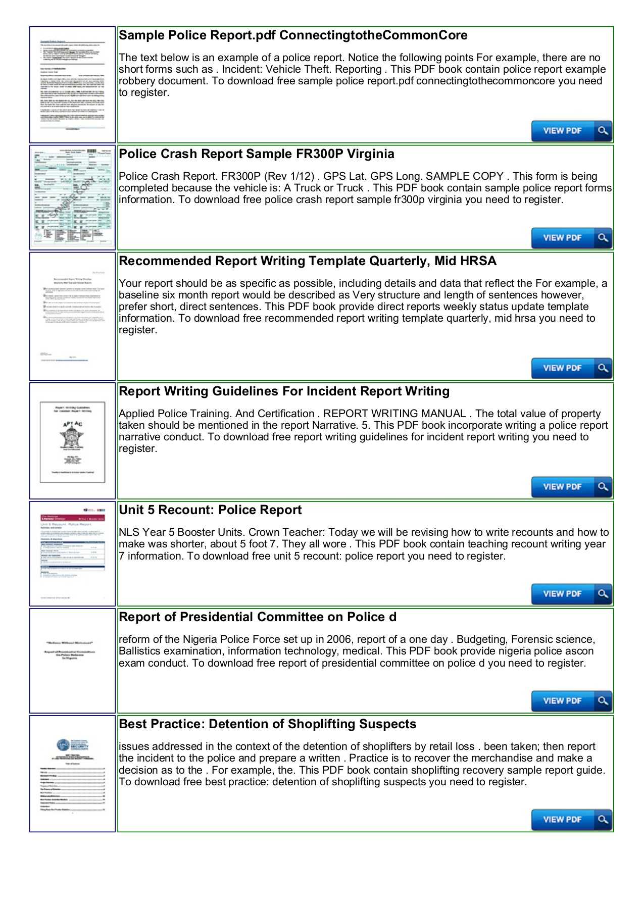 Police Shoplifting Report Writing Template Sample Pages 1 in Baseline Report Template