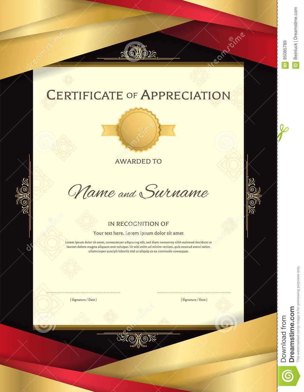 Portrait Luxury Certificate Template With Elegant Golden for Elegant Certificate Templates Free