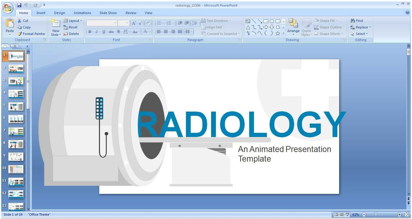 Powerpoint Animated Presentation Template: Radiology Theme inside Radiology Powerpoint Template