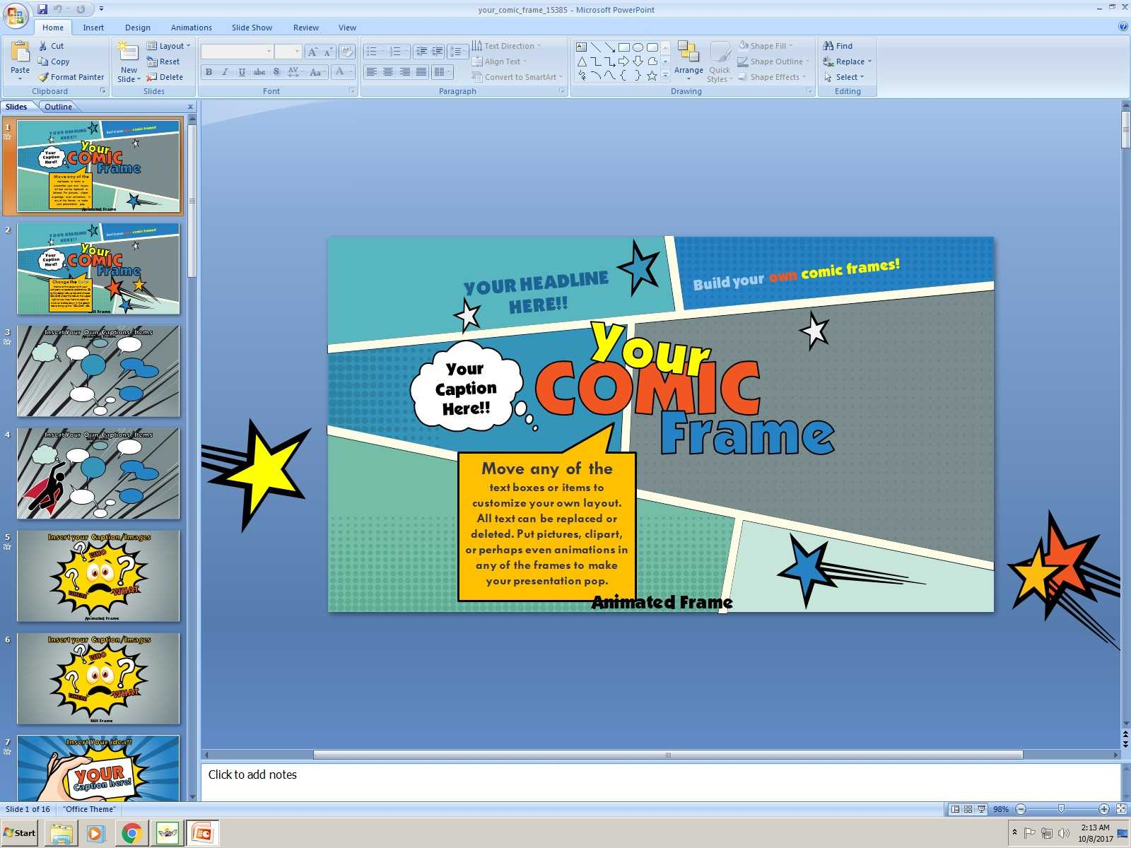 Powerpoint: Your Comic Frame Presentation Template Regarding Comic Powerpoint Template