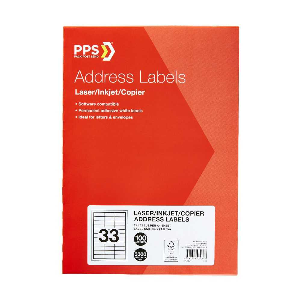 Pps Mailing Labels 16 Up 100 Pack within 33 Up Label Template Word