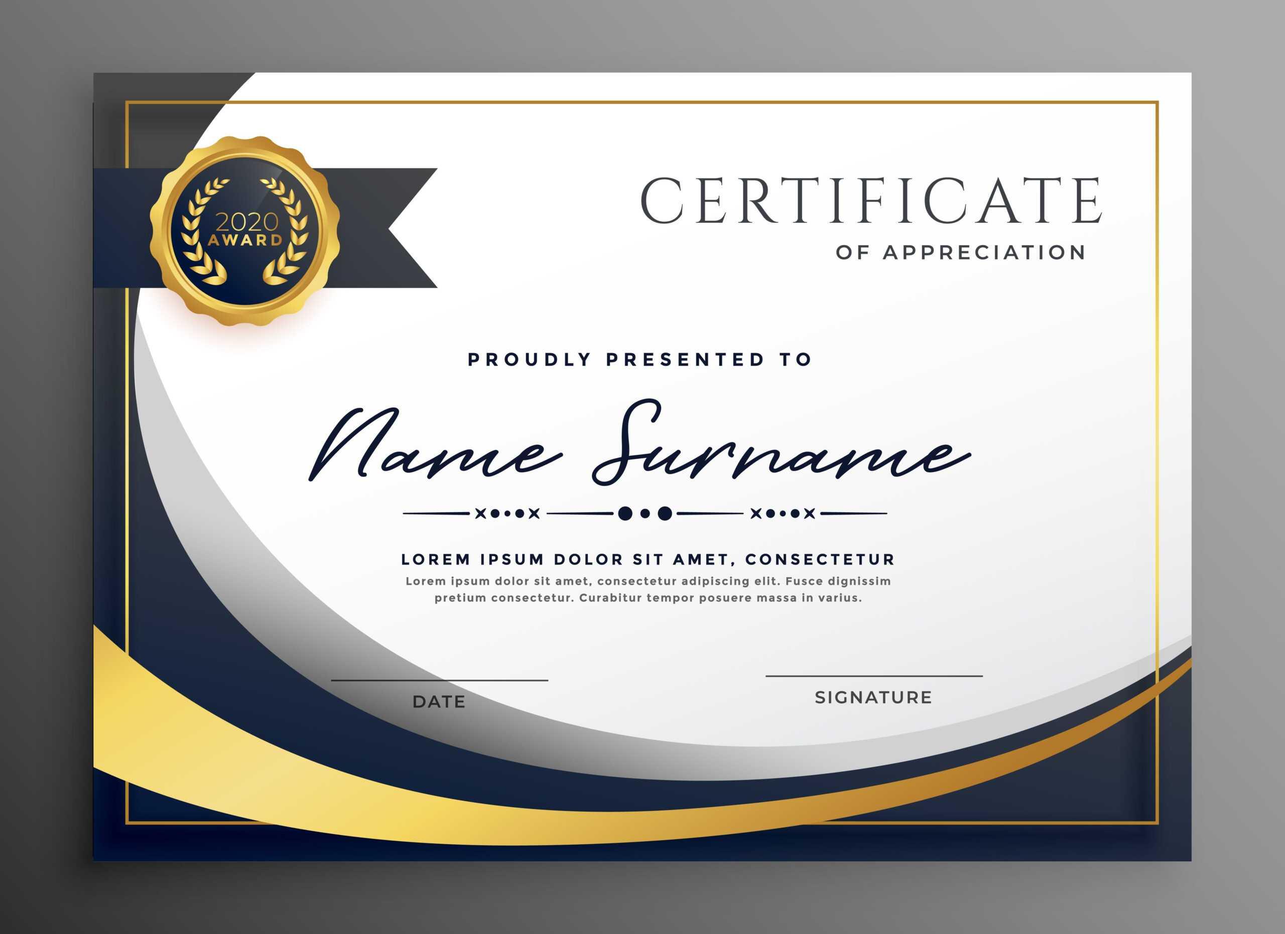 Premium Wavy Certificate Template Design   Certificate Intended For Award Certificate Design Template