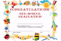 Preschool Graduation Certificate Template Free | Graduation intended for Preschool Graduation Certificate Template Free
