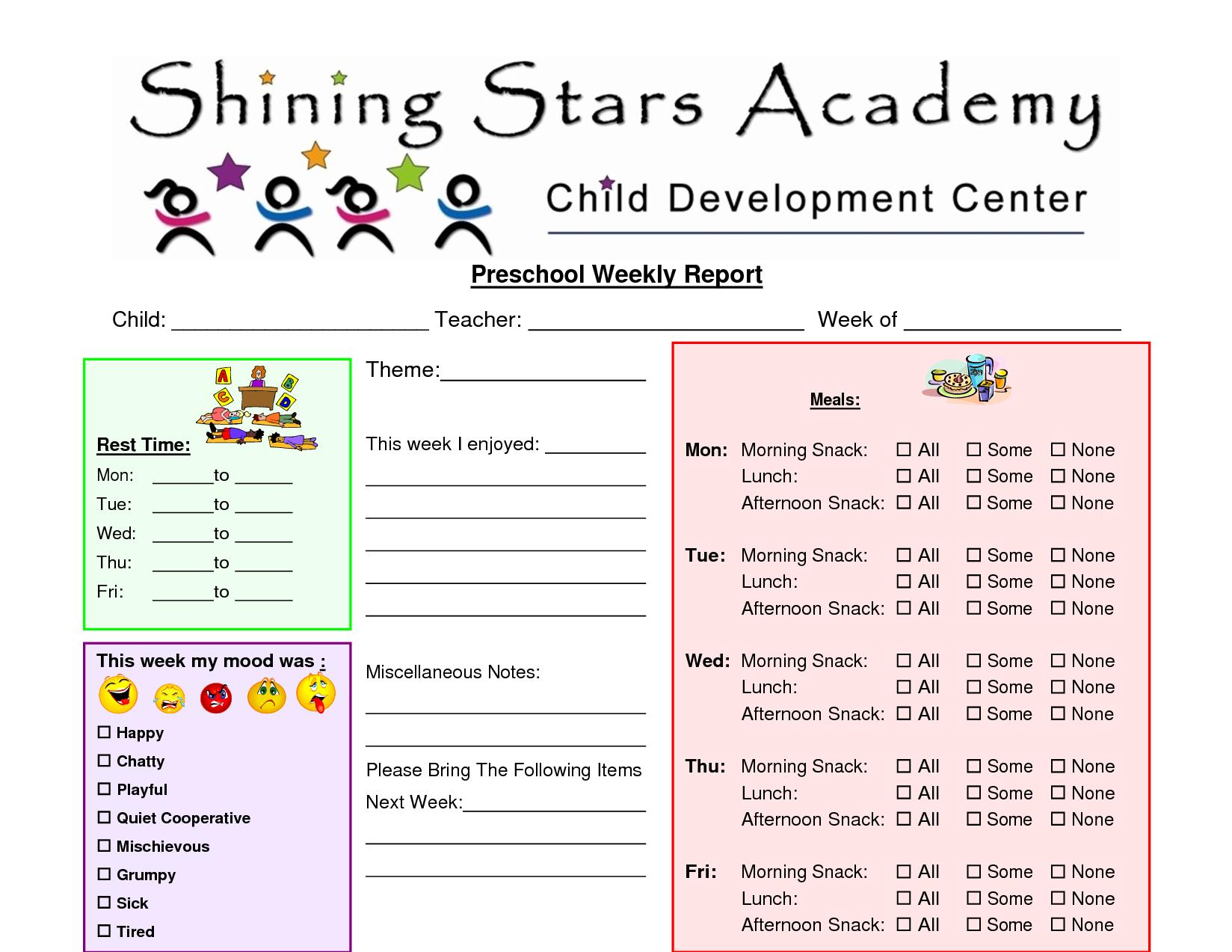 Preschool+Printable+Weekly+Progress+Reports+John+Blog For Preschool Weekly Report Template