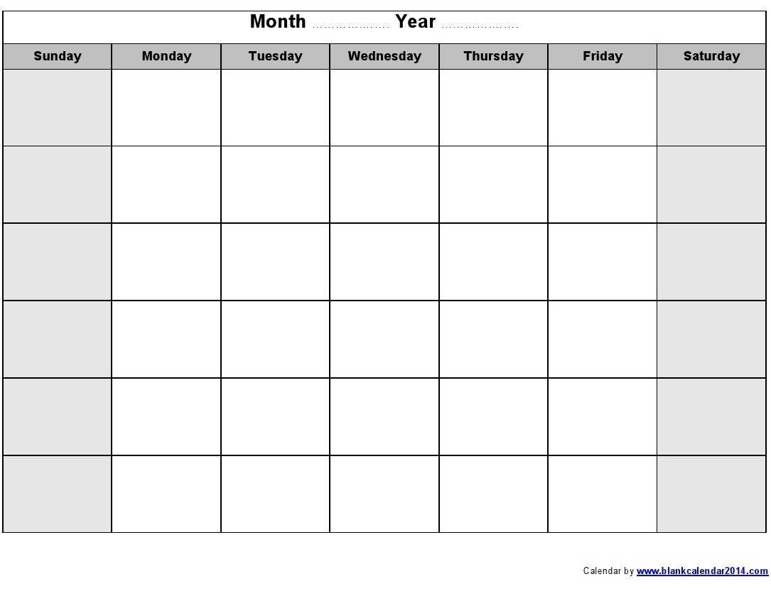Print Blank Calendar Template Weekly Calendar Template with regard to Blank Activity Calendar Template
