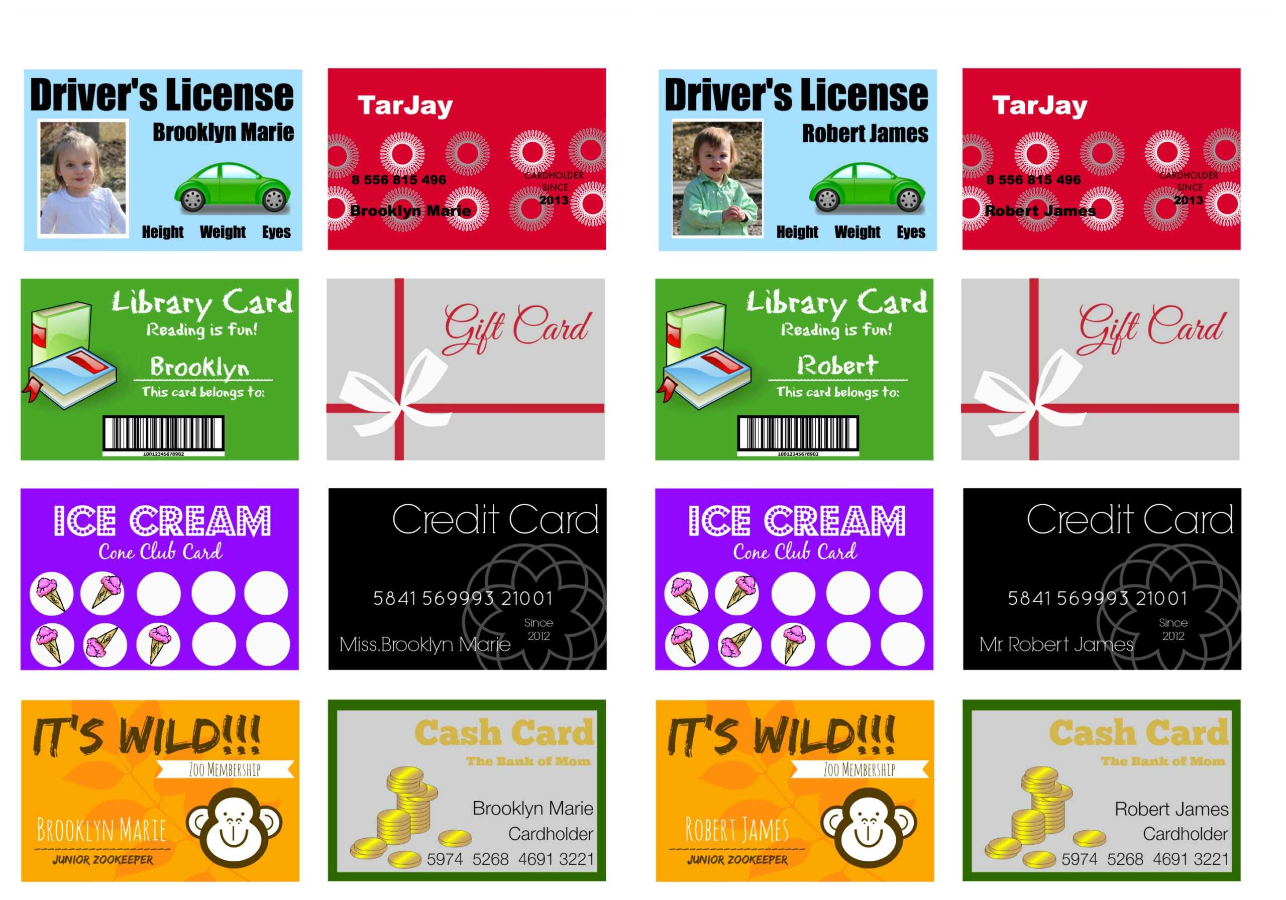 Printable (And Customizable) Play Credit Cards - The Crazy For Credit Card Template For Kids