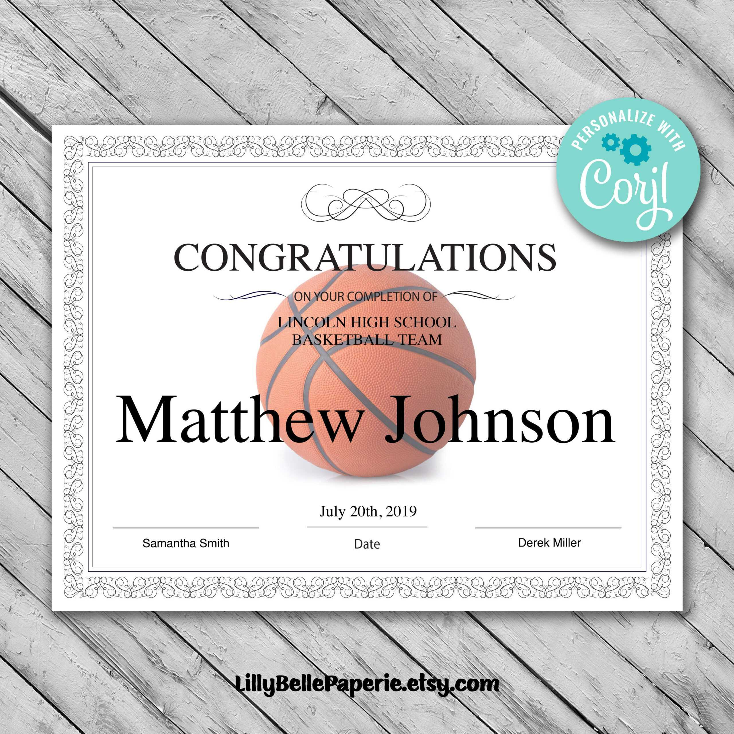 Printable Basketball Certificate Template - Editable Certificate Template -  Basketball Certificate Template Personalized Diploma Certificate inside Basketball Certificate Template