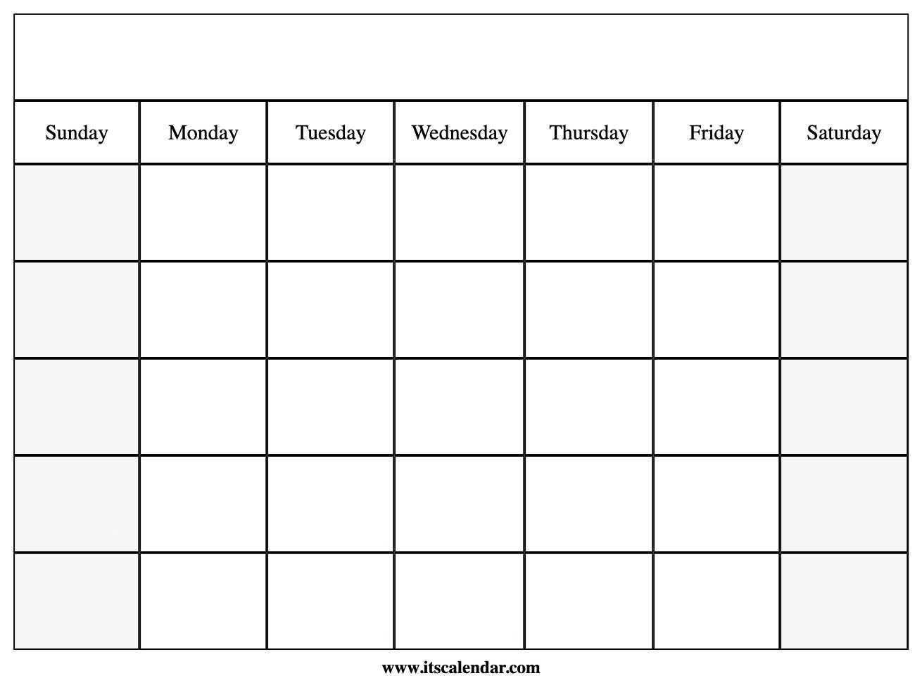 Printable Blank Calendar regarding Blank Calender Template