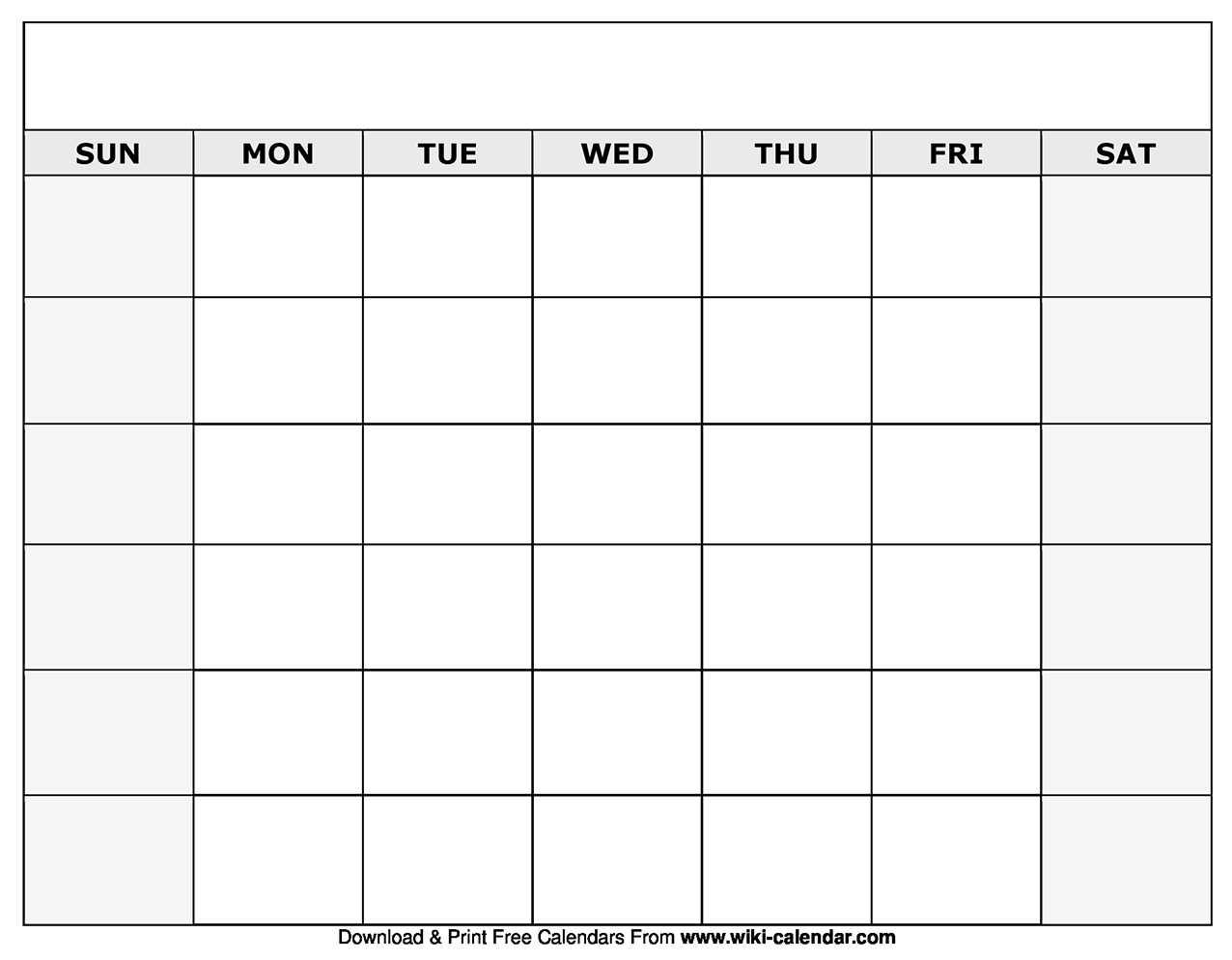 Printable Blank Calendar Templates for Blank Calender Template