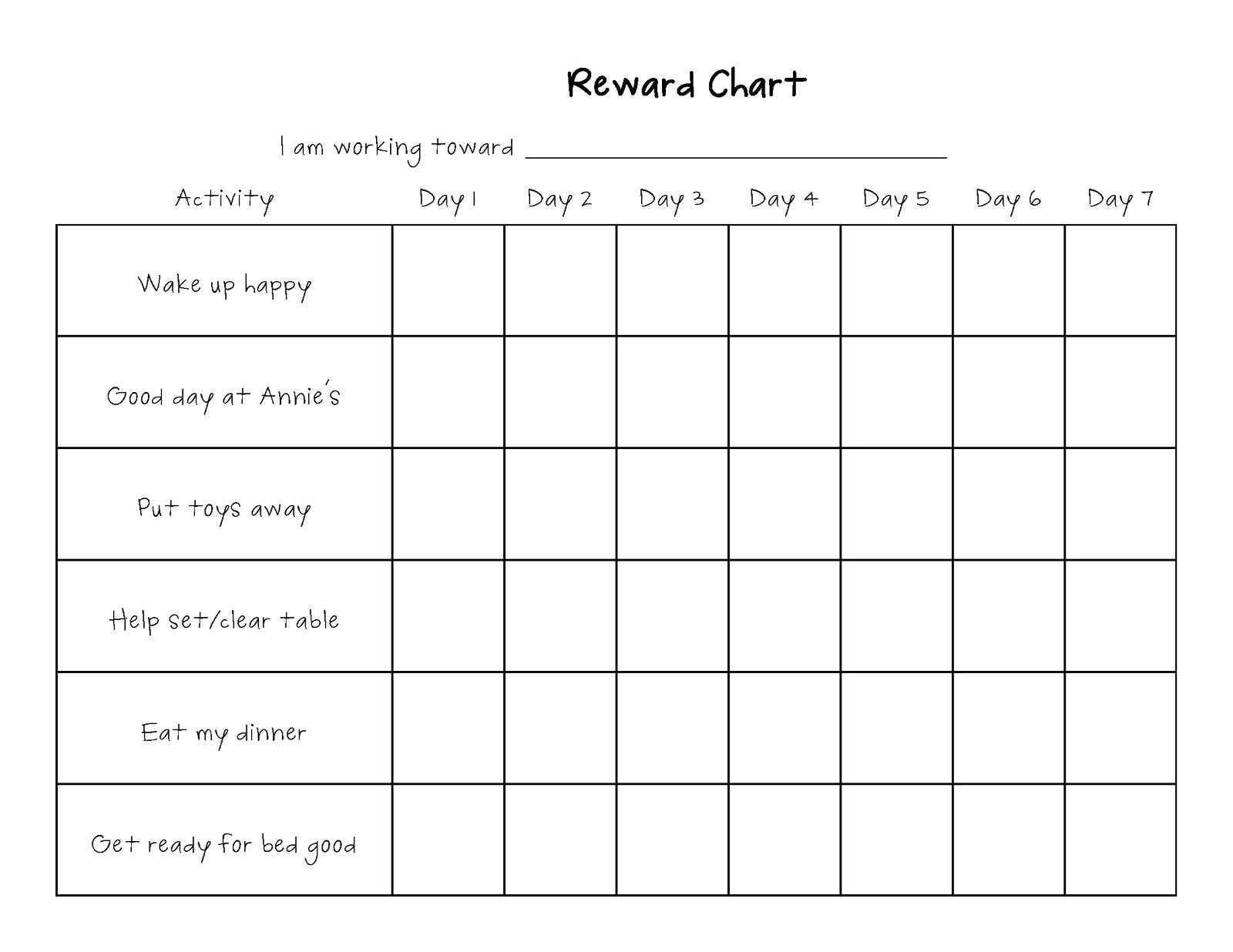 Printable Blank Chore Chart Template – Wovensheet.co inside Blank Reward Chart Template