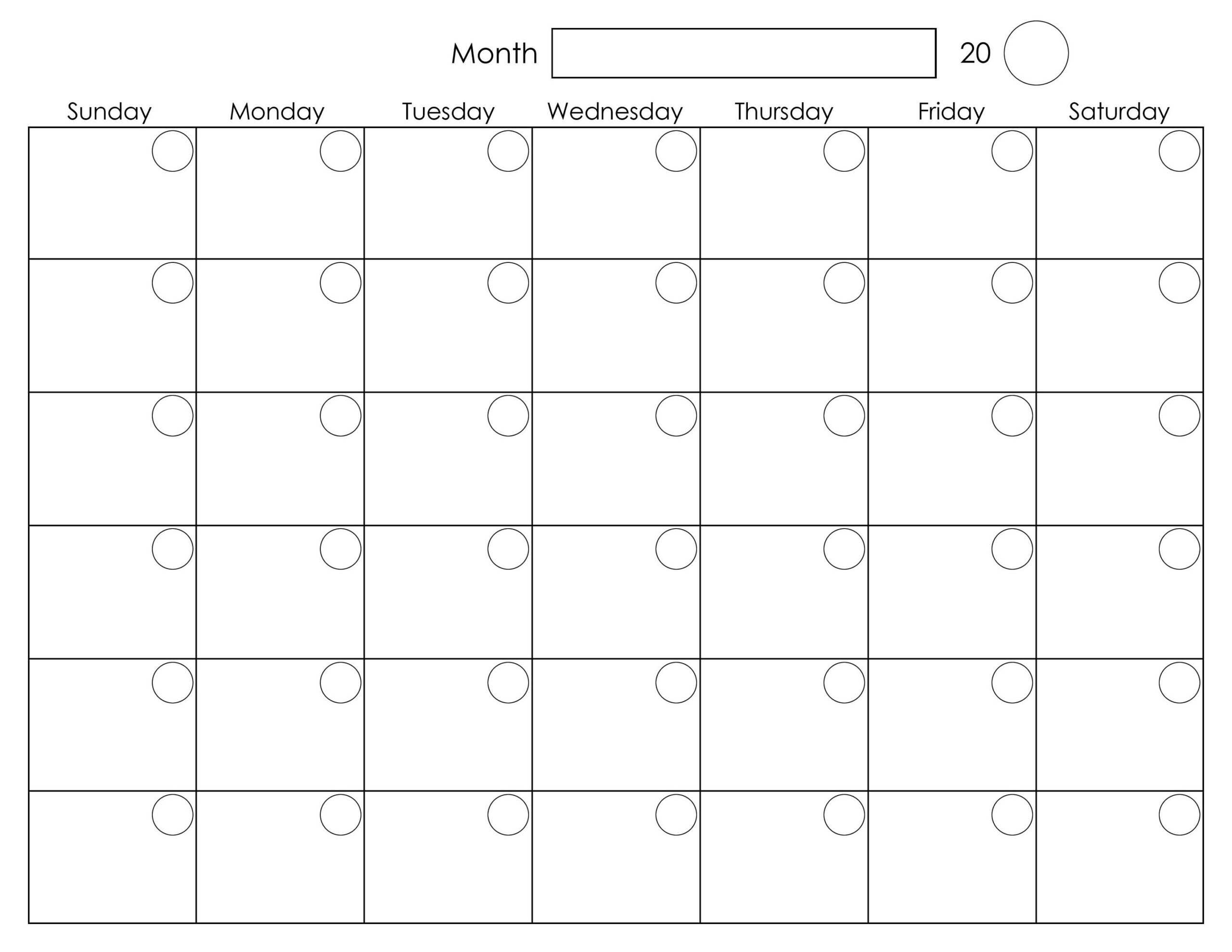 Printable Blank Monthly Calendar | Blank Monthly Calendar with regard to Blank Activity Calendar Template