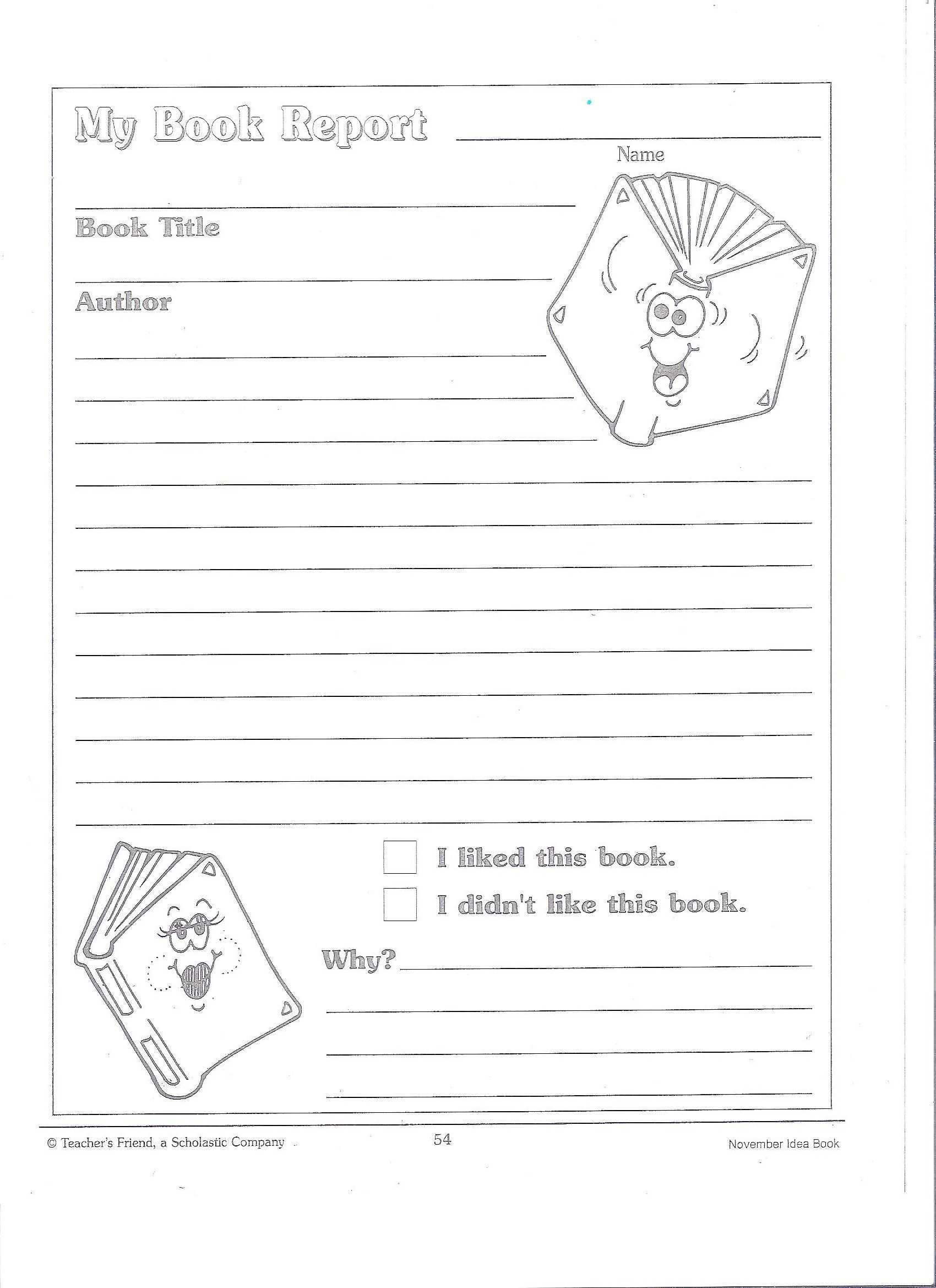 Printable Book Report Forms | Miss Murphy's 1St And 2Nd With Regard To 1St Grade Book Report Template