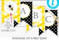 Printable Bumble Bee Banner, Bee-Day, Baby Shower, Birthday in Bride To Be Banner Template
