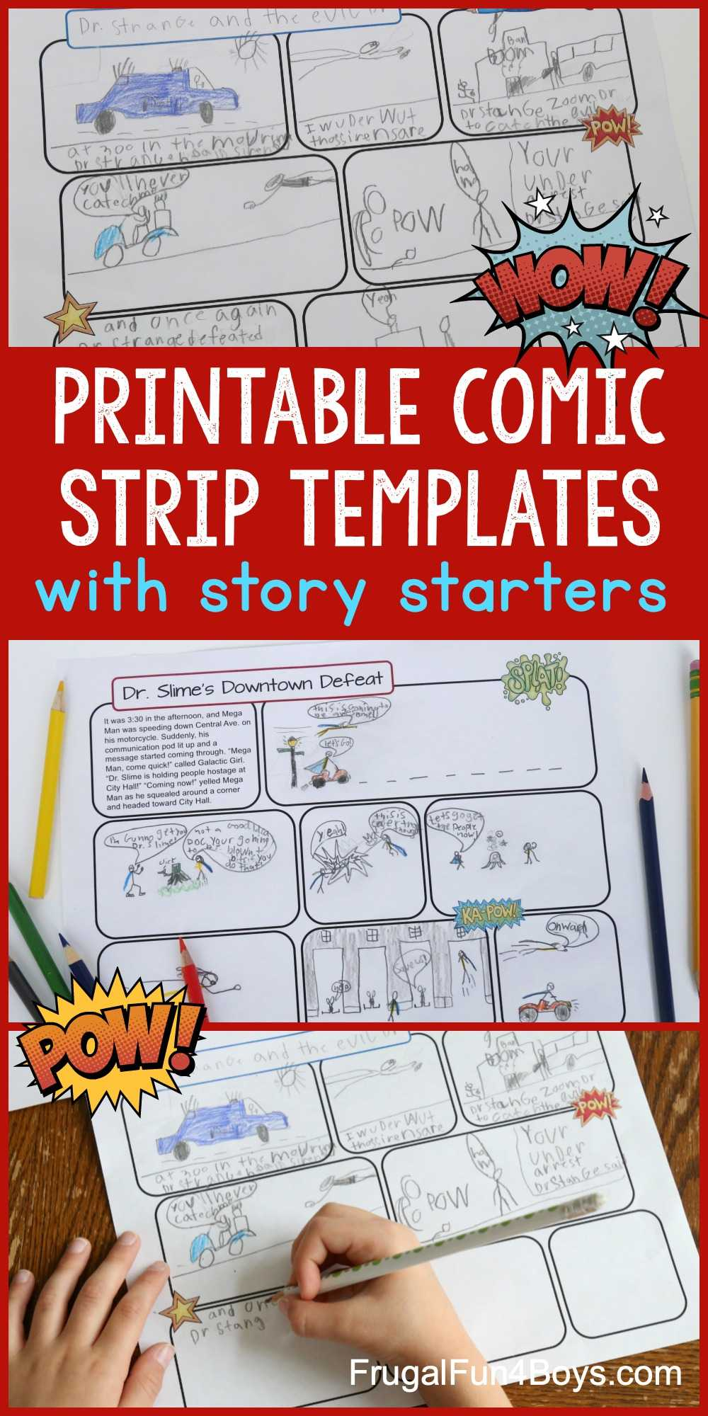 Printable Comic Strip Templates With Story Starters - Frugal within Printable Blank Comic Strip Template For Kids