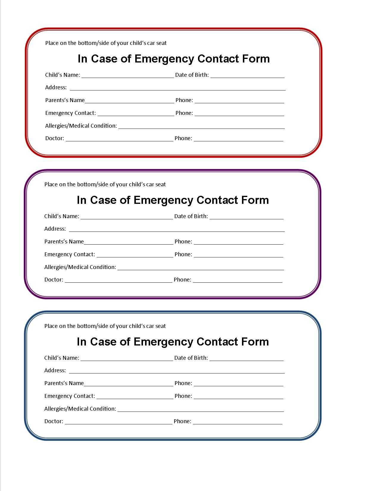 Printable Emergency Contact Form For Car Seat | Emergency Intended For Medical Alert Wallet Card Template
