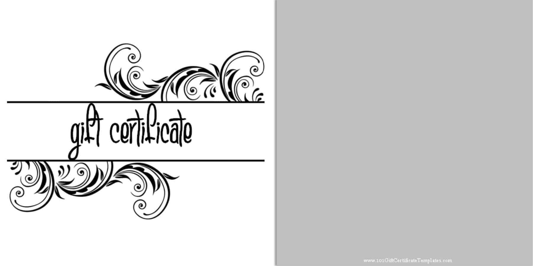 Printable Gift Certificate Templates regarding Black And White Gift Certificate Template Free