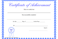 Printable Hard Work Certificates Kids | Printable For Blank Certificate Of Achievement Template