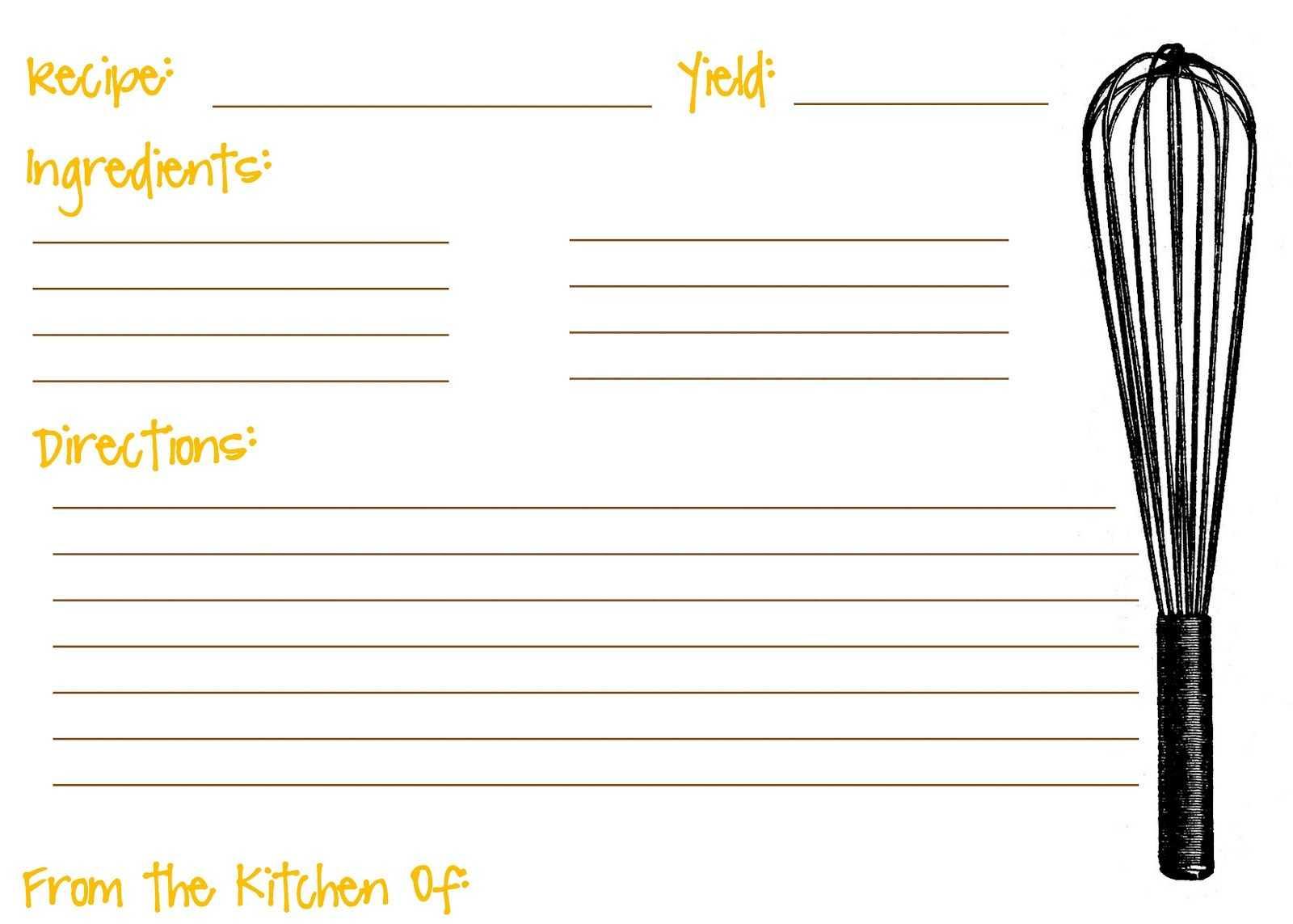 Printable Recipe Cards For Kids Recipe Template For Kids With Full Page Recipe Template For Word