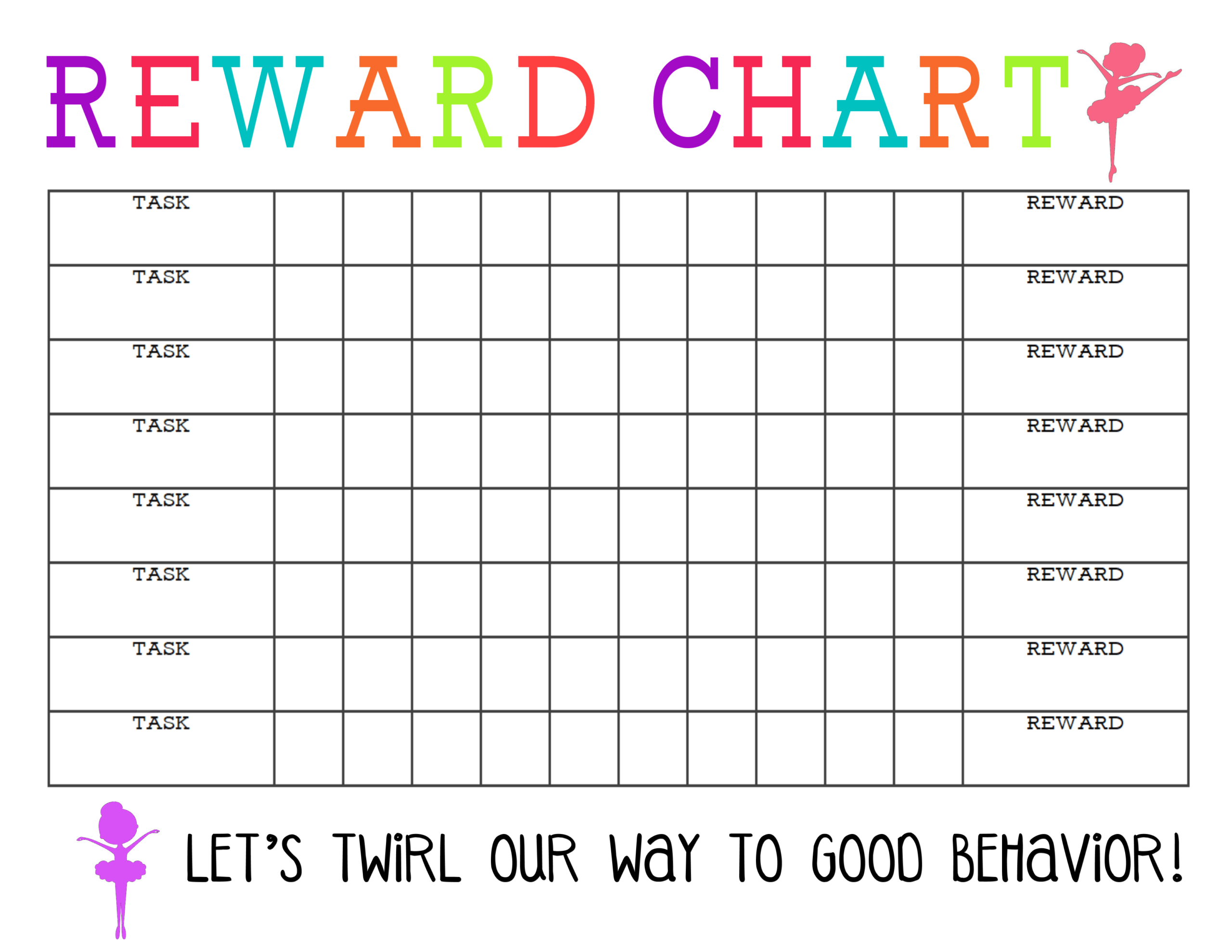 Printable Reward Chart - The Girl Creative intended for Blank Reward Chart Template
