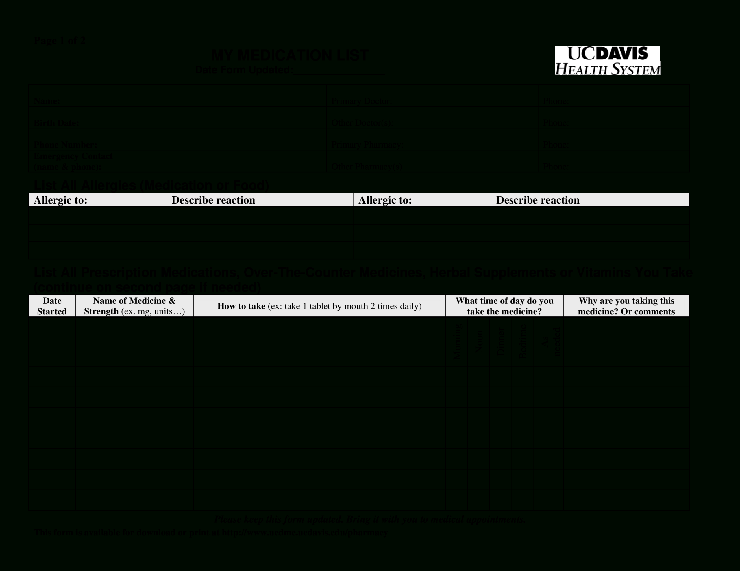 Printable Simple Medication List | Templates At with regard to Blank Medication List Templates