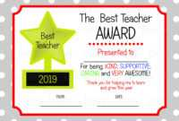 Printable Teacher Appreciation Certificate, Teacher Thankyou regarding Best Teacher Certificate Templates Free