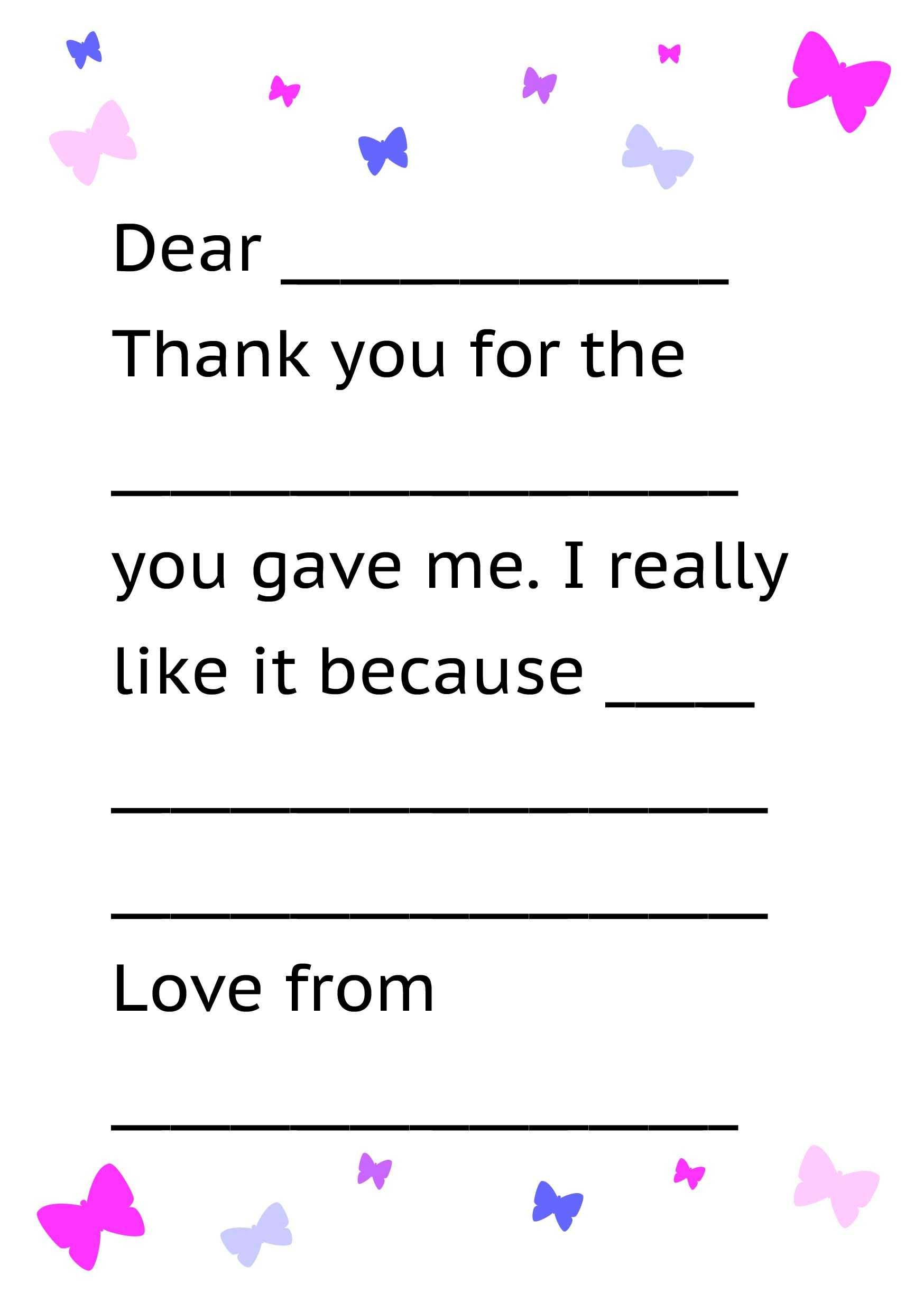 Printable Thank You Card Template For Kids | Thank You Cards For Thank You Note Cards Template