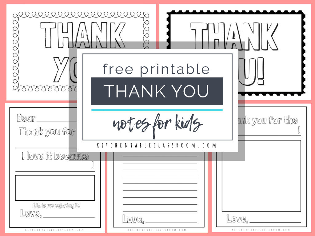 Printable Thank You Cards For Kids - The Kitchen Table Classroom inside Thank You Note Cards Template