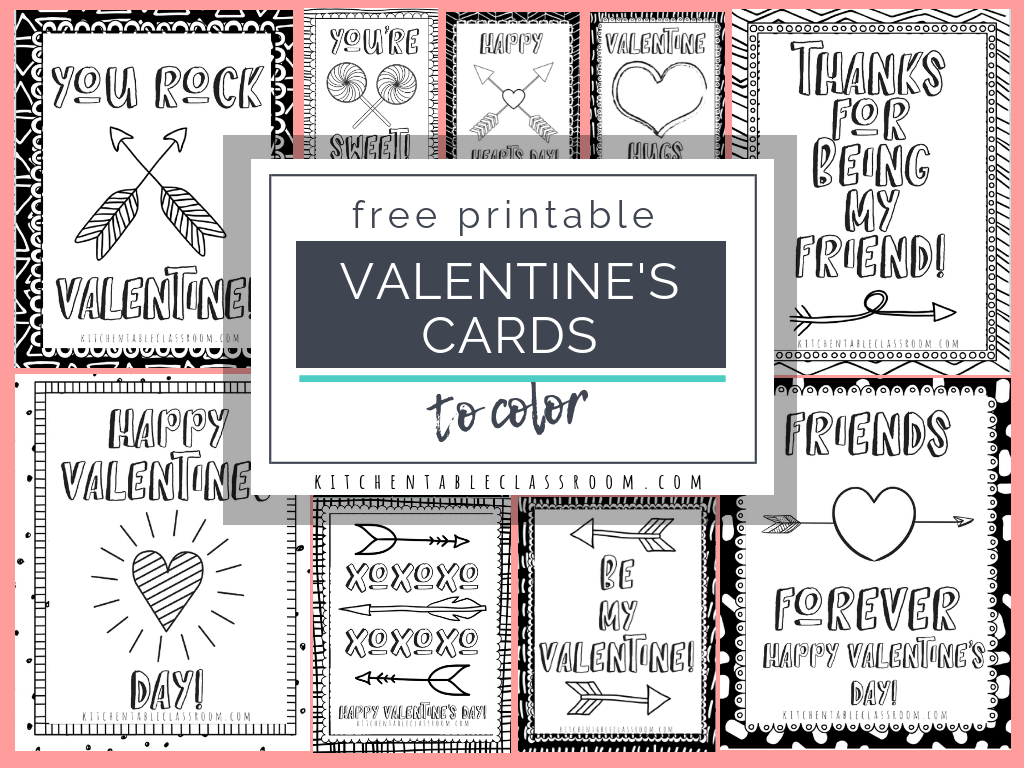Printable Valentine Cards To Color - The Kitchen Table Classroom intended for Valentine Card Template For Kids