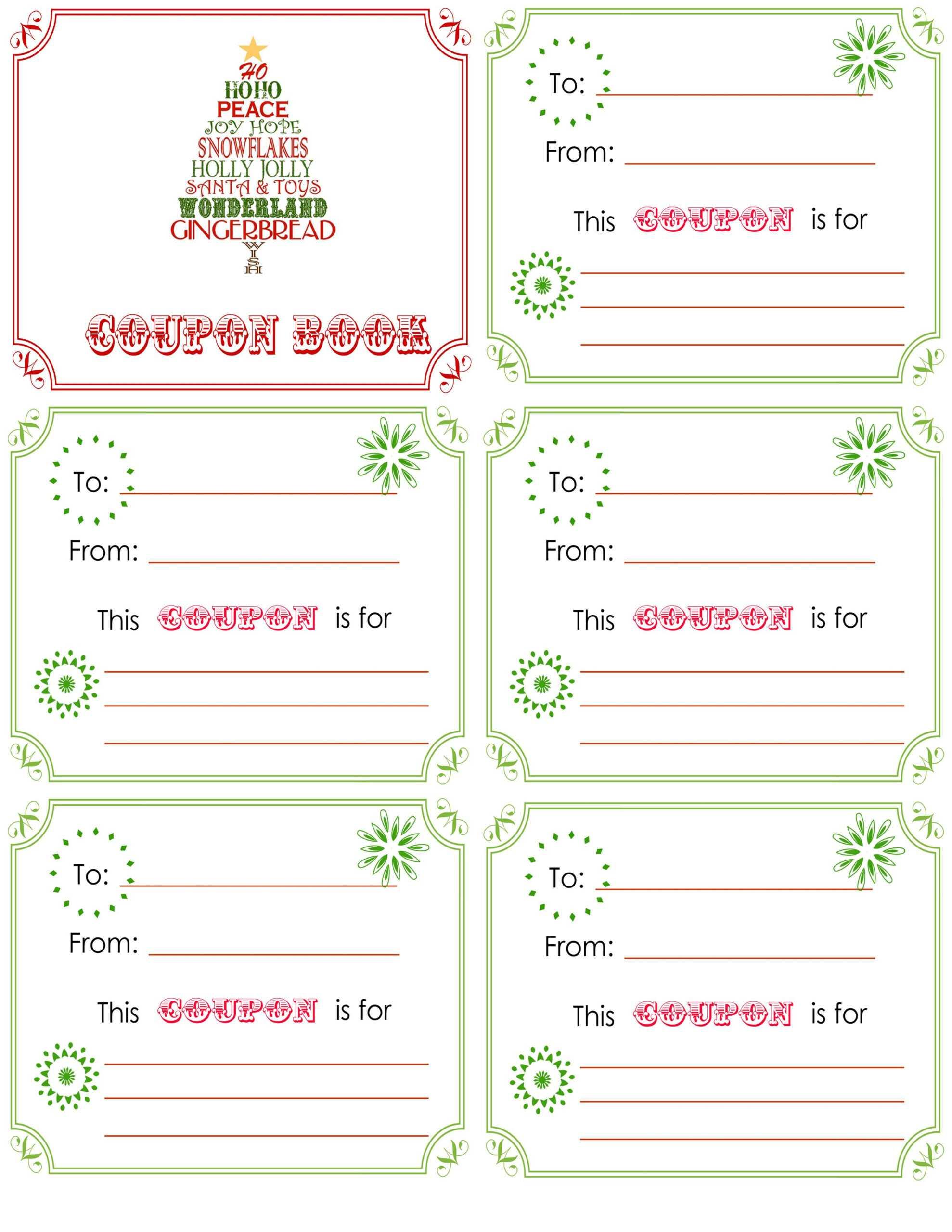 Printable+Christmas+Coupon+Book+Template | Christmas Card Pertaining To Coupon Book Template Word