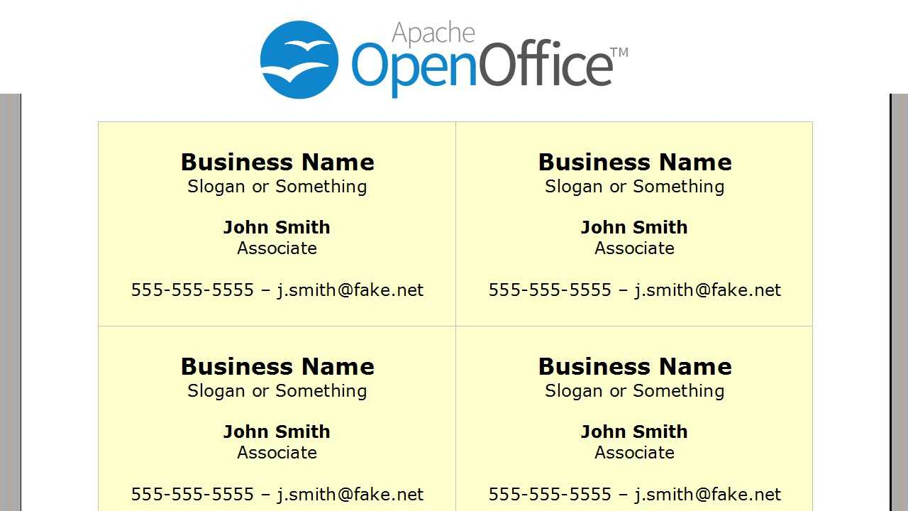 Printing Business Cards In Openoffice Writer For Business Card Template Open Office