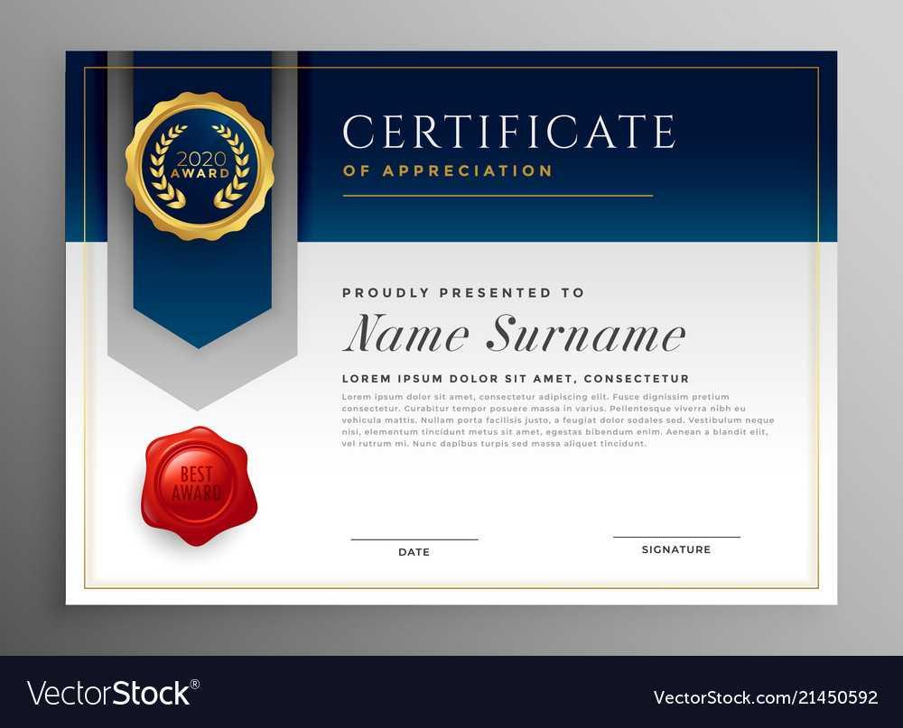 Professional Blue Certificate Template Design for Professional Award Certificate Template