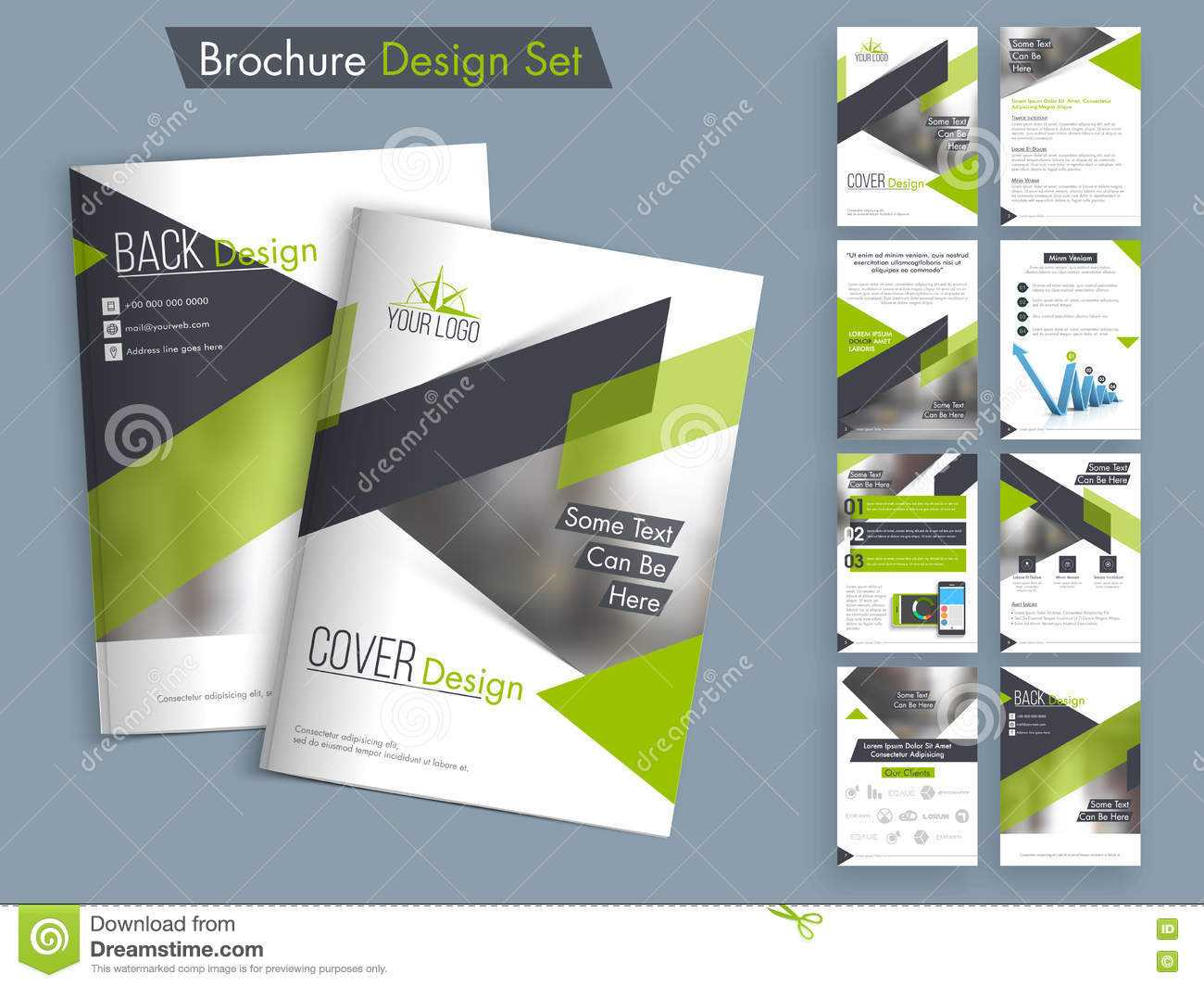 Professional Business Brochure, Template Or Flyer Set. Stock Throughout Professional Brochure Design Templates