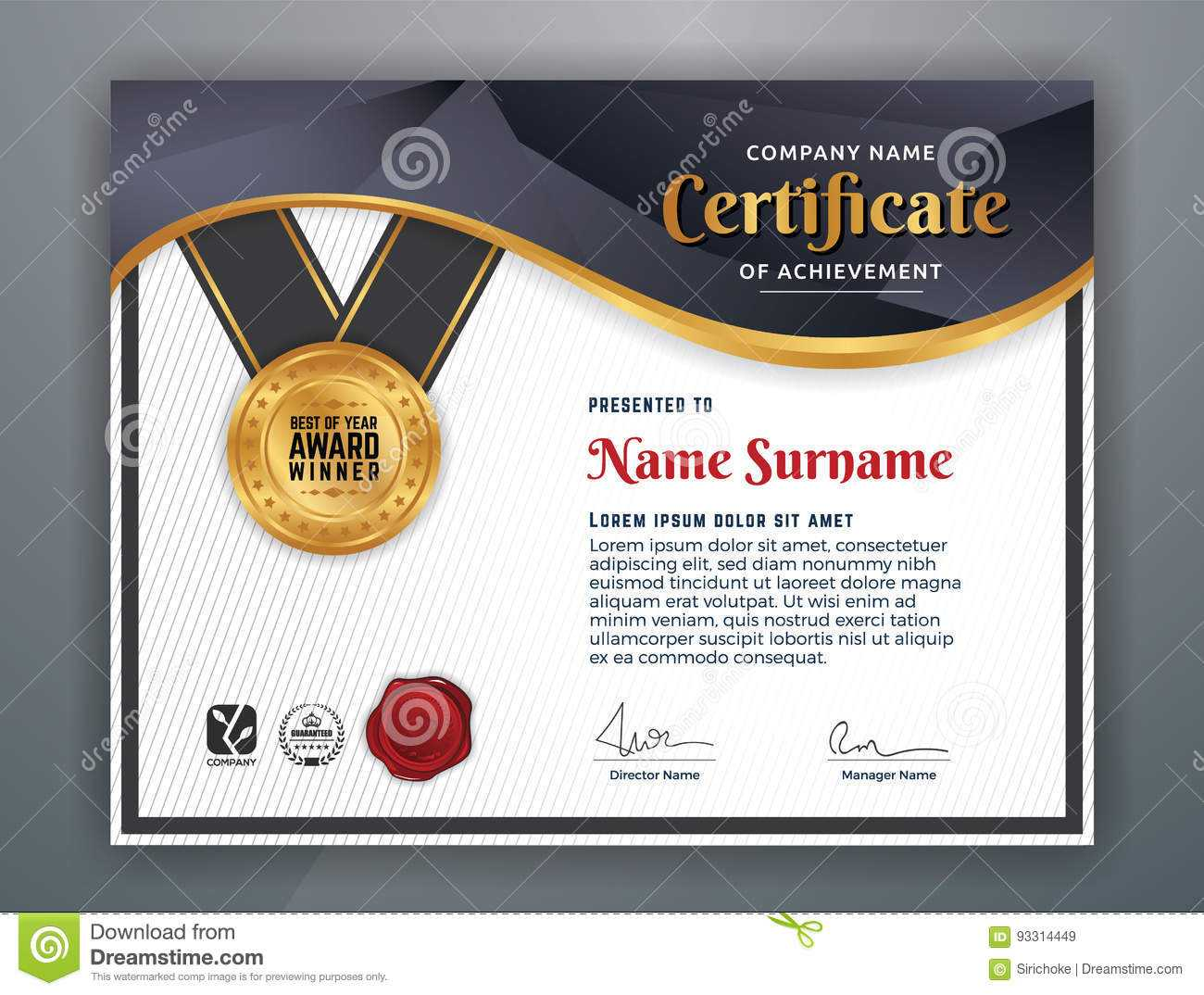 Professional Certificate Template Stock Vector for Professional Award Certificate Template