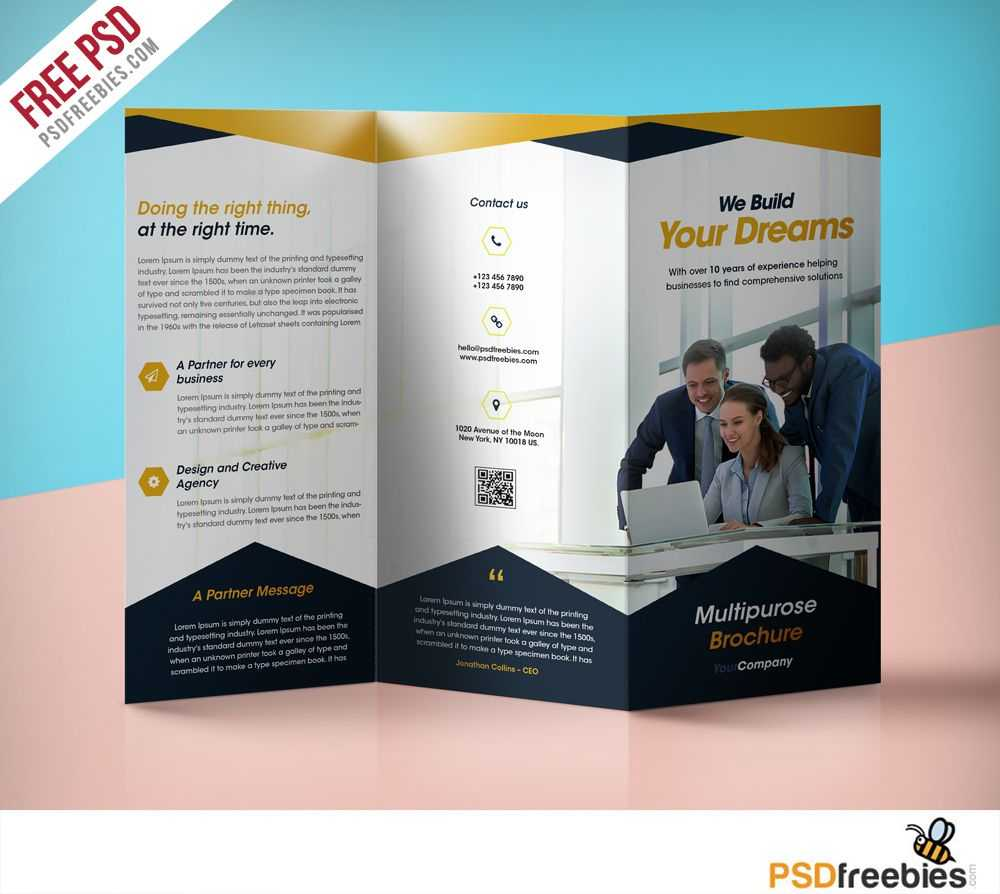 Professional Corporate Tri Fold Brochure Free Psd Template Within 3 Fold Brochure Template Psd Free Download