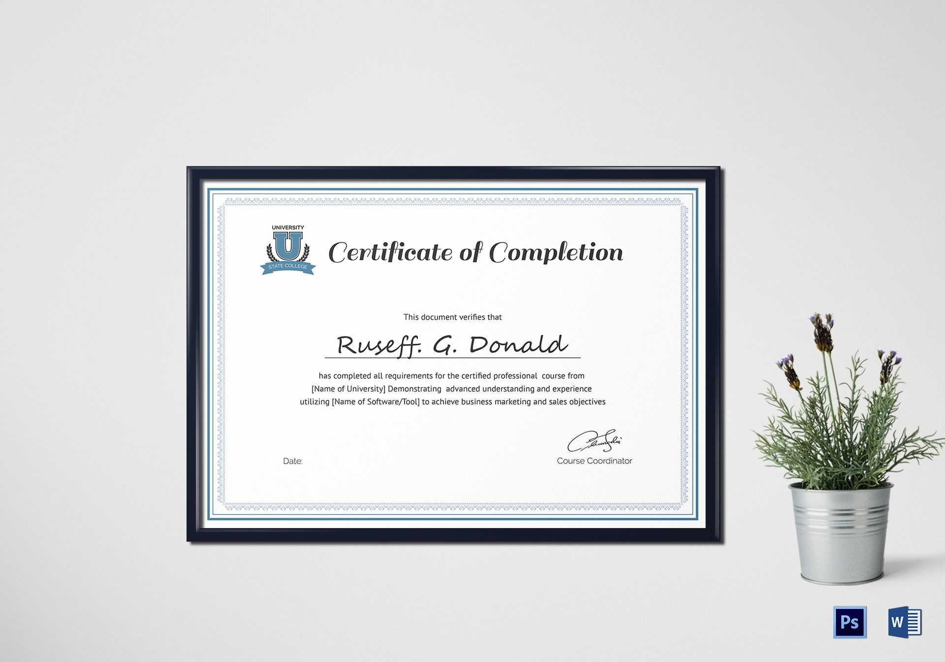 Professional Course Completion Certificate Template Regarding Professional Certificate Templates For Word