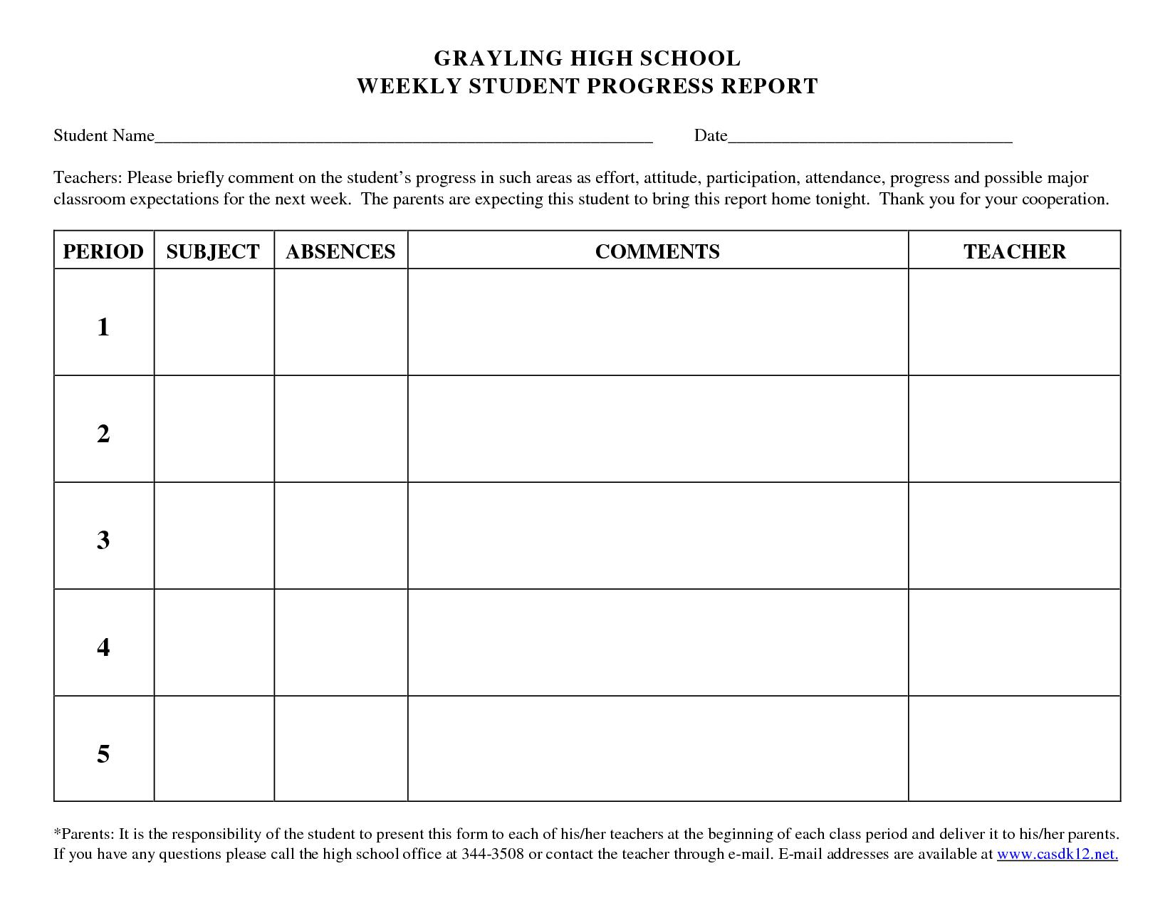Progress Report Template For High School Students - Google inside School Progress Report Template
