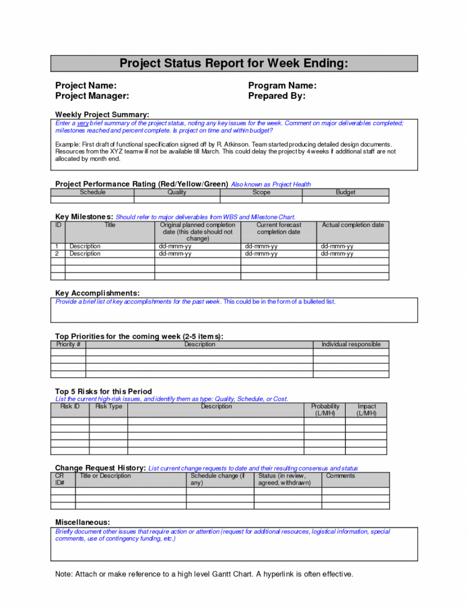 Project Management. Project Management Report Template Intended For Weekly Progress Report Template Project Management