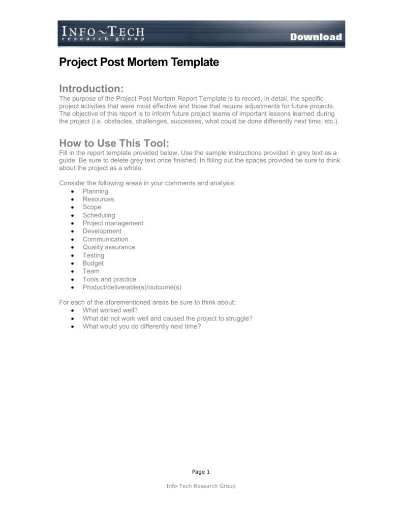 Project Post Mortem Template Pertaining To Post Project Report Template